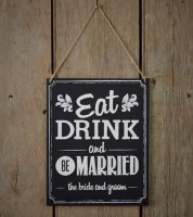 """Vintage-Holzschild """"Eat, drink and be married"""""""