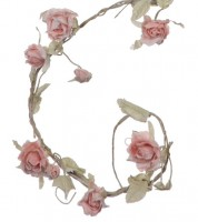 "Stoffrosen-Girlande ""Vintage"" - rosa - 1,65 m"