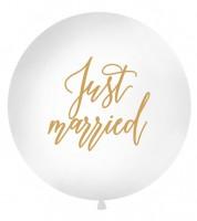 """Riesenballon """"Just married"""" - weiß/gold - 1 m"""