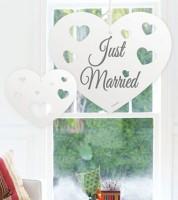 """Hochzeits-Herzen zum Hängen """"Just Married"""" - 5-teilig"""