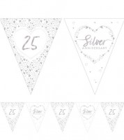 "Wimpelgirlande aus Papier ""Silver Anniversary"" - 3,7 m"