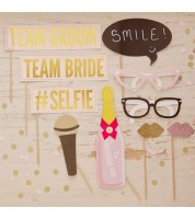 "Photobooth-Set ""Team Bride & Team Groom"" - 10-teilig"