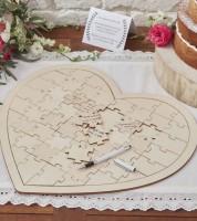 """Gästebuch """"Herz-Puzzle"""" aus Holz"""