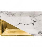 Rechteckige Pappteller - marmoriert/gold -  8 Stück