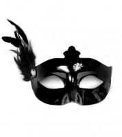 Venezianische Augenmaske mit Federn - schwarz