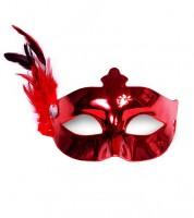Venezianische Augenmaske mit Federn - rot