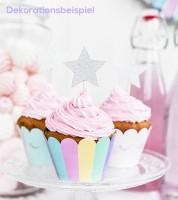 "Cupcake-Picks ""Sterne"" - glitter silber - 6 Stück"