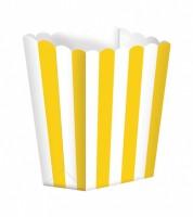 Popcornboxen mit Streifen - gelb - 5 Stück