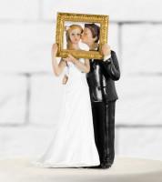 """Tortenfigur """"Brautpaar im Bilderrahmen"""""""