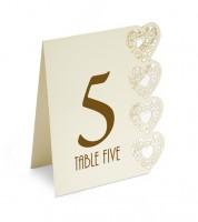 """Tischnummern """"Herzen"""" - 1 bis 15 - elfenbein"""