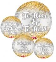 """Kugel-Folienballon """"Wedding"""" - gold"""