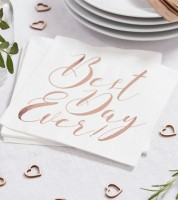 "Servietten ""Best Day Ever"" - rosegold - 20 Stück"