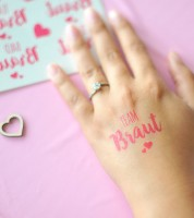 """Team Braut-Tattoos """"Herz an Herz"""" - pink - für 15 Personen"""
