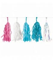 DIY Tasselgirlande - pink, weiß, blau, irisierend - 3 m