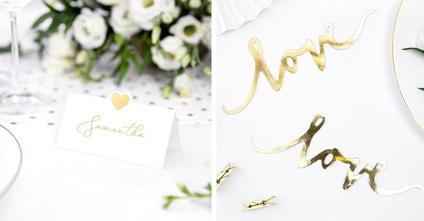 Schöne Details in Gold veredeln das Hochzeits-Dekor