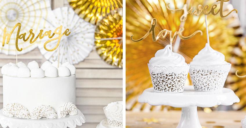 Auch der Hochzeitskuchen kann etwas Golddeko vertragen