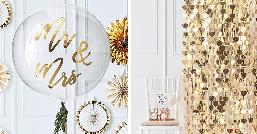Edler Girlandenvorhang und Hochzeitsballon mit goldener Aufschrift