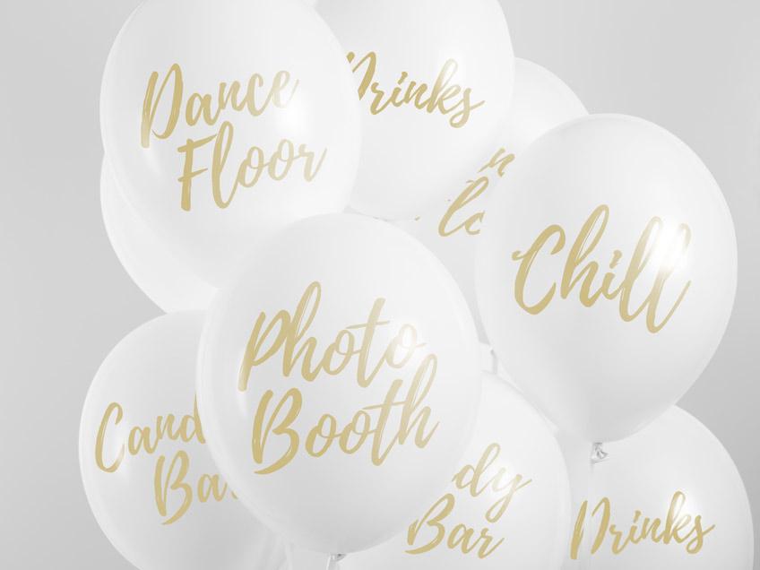 Schöne Ballons in Weiß und Gold für die Hochzeit