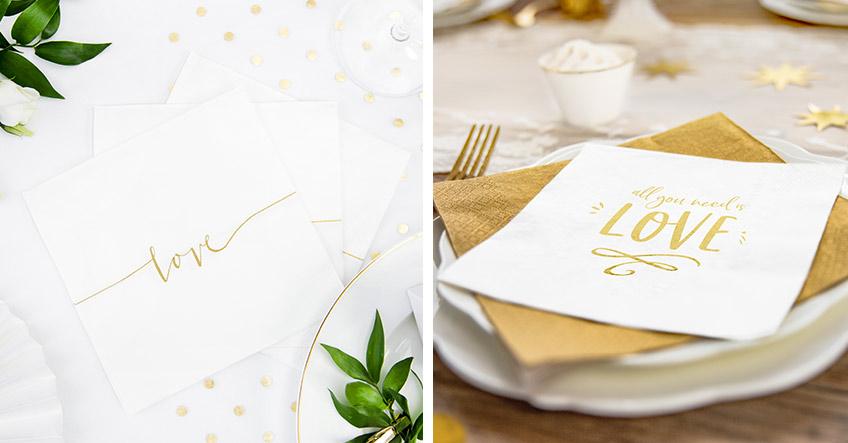 Auf dem Hochzeitstisch ist Gold und Weiß sehr edel