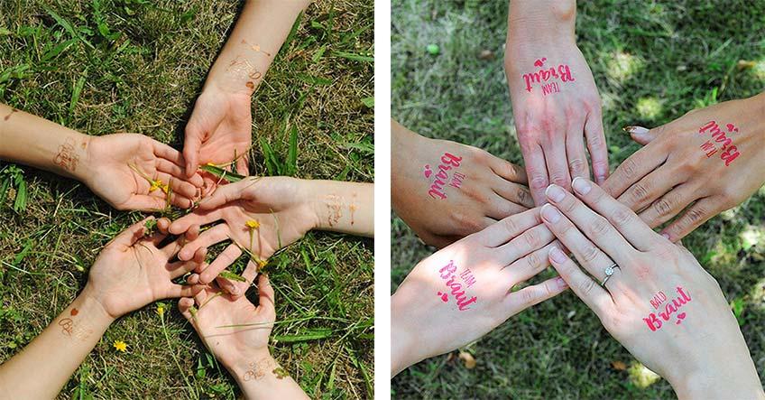 Hautbilder zum Abziehen für das Team Braut und die Bald Braut leisten einen trendigen Beitrag zum JGA