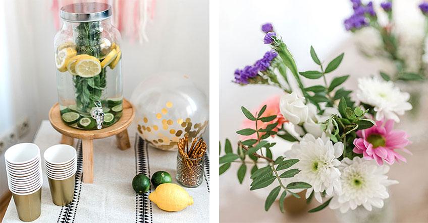 Grünzeug auf der Brautparty - eine schöne und frische Idee, denn das Auge trinkt mit :) (c) Carina Plößl Fotografie