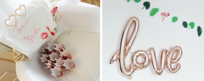 Alles in wunderschönem Roségold: Photobooth-Props, Krönchen und bedruckte Turnbeutel für witzige Schnappschüsse zum stilvollen Junggesellinnenabschied. © Steffi's Hochzeitsblog