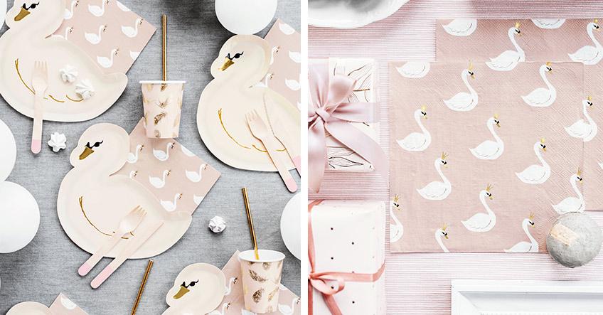 Schöne Tischdeko in Rosa mit Schwanenmotiven findest du bei uns