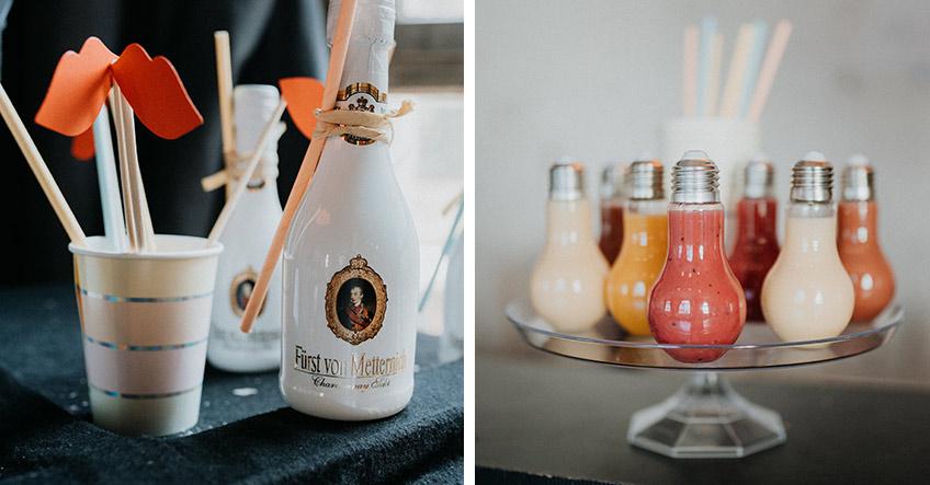 Urbane-Brautparty-Highlights - leckere Drinks aus coolen Glühbirnen-Gefäßen (c) Christine Ladehoff Fotografie