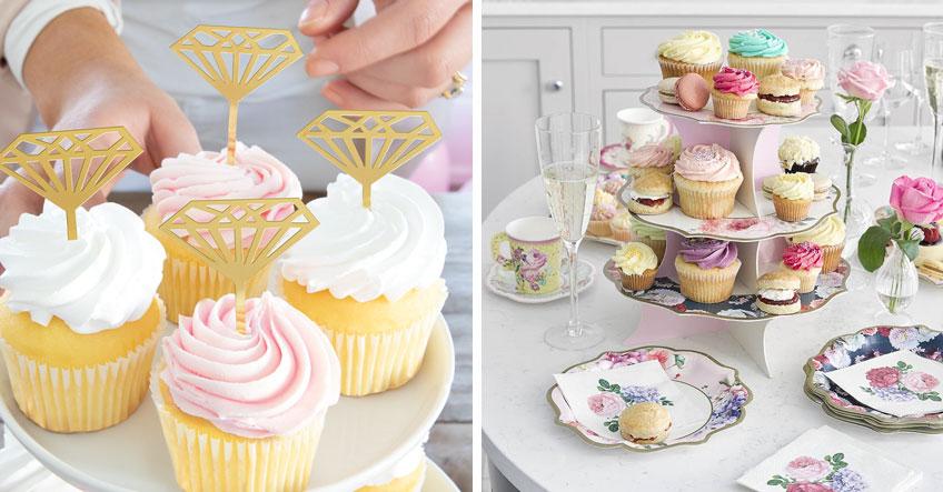 Cupcakes mit stilvollen Cake-Picks verziert veredeln den Bridal Brunch