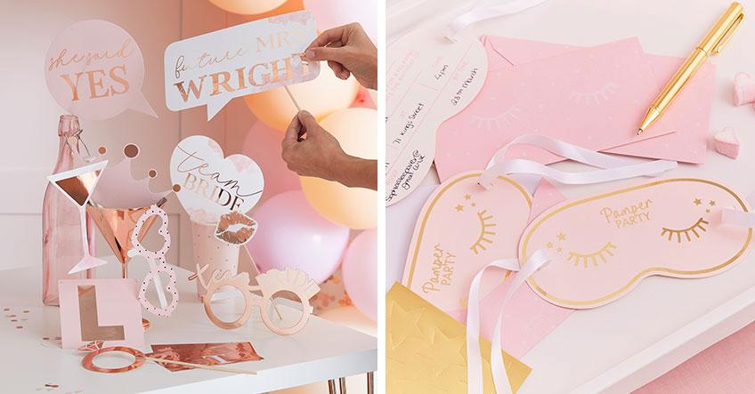 Mit entsprechenden Accessoires und einer einfallsreichen Einladung schaffst du tolle Vorfreude auf die Brautparty mit Bridal Spa