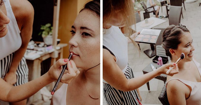"""Dank Visagistin Sam von """"Atelier Herzallerliebst"""" strahlt die """"Bride to be"""" auf ihrer Brautparty 2018 (c) christineladehofffotografie"""
