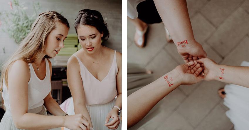 """Die zukünftige Braut und ihre Brautjungfern mit """"Team Braut"""" und """"Braut"""" Tattoos."""