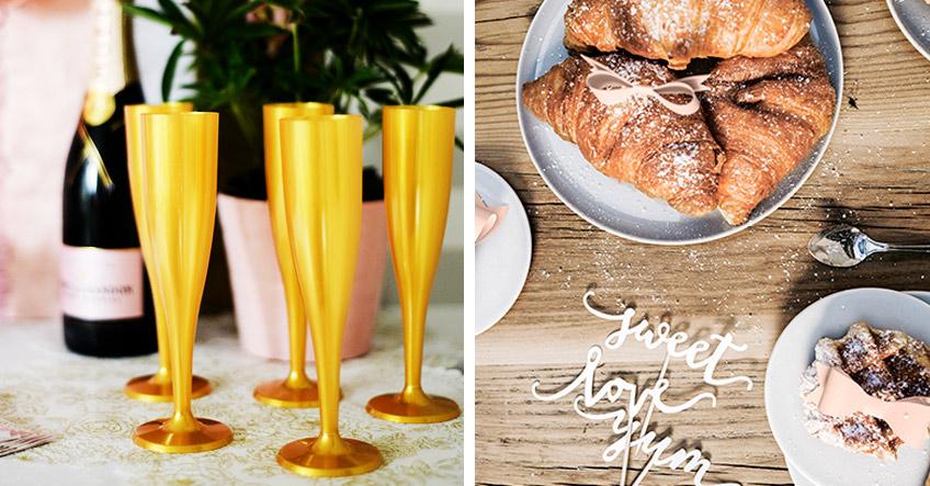 Überraschungs-Brunch zum Hochzeitstag mit goldenen Sektgläsern und romantischer Deko