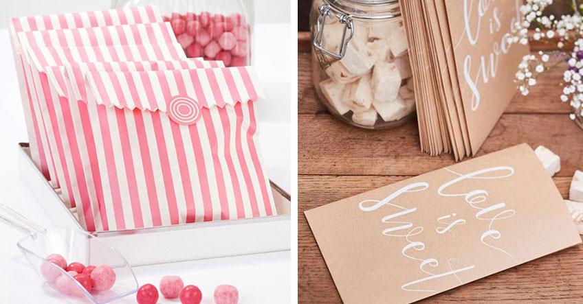 Hochzeitsgäste können sich Süßes von der Candy Bar in hübsche Candy Bags abfüllen