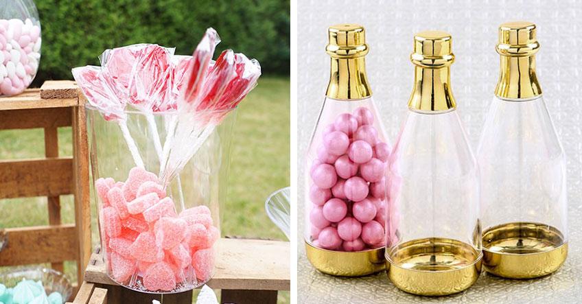 Schöne Flaschen und Gefäße machen sich gut auf der Candy Bar zur Hochzeit