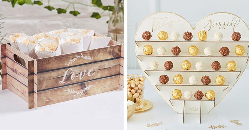 Aufsteller für die Candy Bar auf der Hochzeit - nützlich und hübsch zugleich