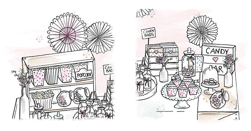 Dekorier deine Candy Bar zur Hochzeit mit Papierfächer und anderem Schönen
