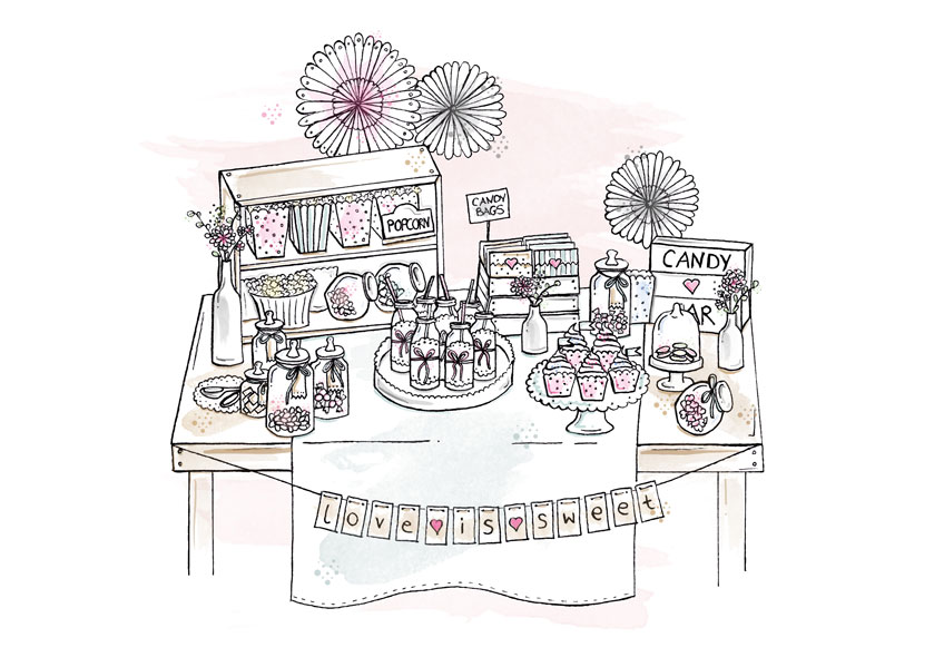 So kann die Candy Bar auf deiner Hochzeit aussehen