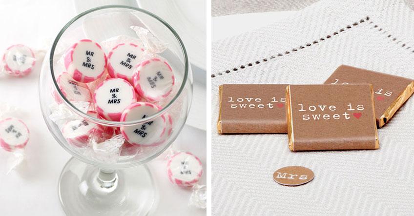 Candy Bar zur Hochzeit - Schokolade und Bonbons geben ein hübsches Bild ab
