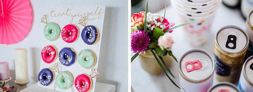 Guter Start in den JGA - süße Donuts und coole, zum Anlass beklebte Getränkedosen (c) Julia Löhning Fotografie