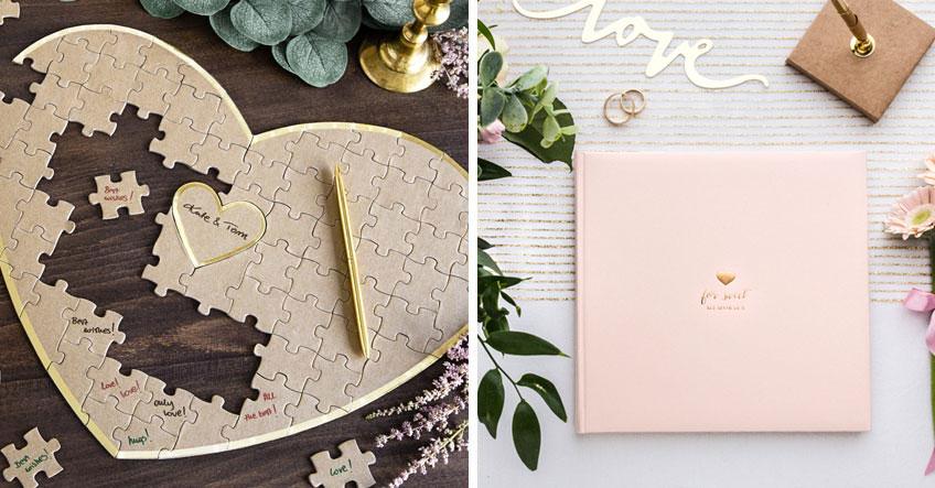 Lass' die Gäste bereits vorab ihre Wünsche in das Erinnerungsbuch oder Herz-Puzzle schreiben und schicke es dem Brautpaar als Geschenk zum Hochzeitstag