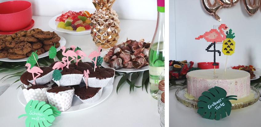 Cupcake-Picks und Kuchentopper für den perfekten Sweet Table im Flamingo-Look © Steffi's Hochzeitsblog