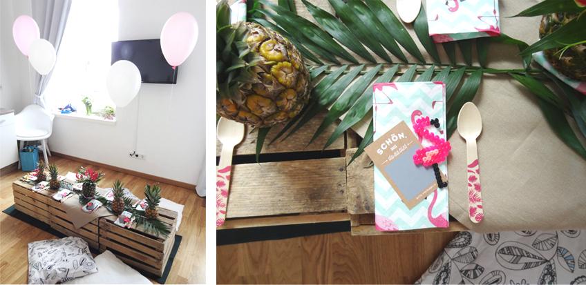 Mit pinken Flamingo-Accessoires ist eure Deko zur tropischen Brautparty perfekt! © Steffi's Hochzeitsblog