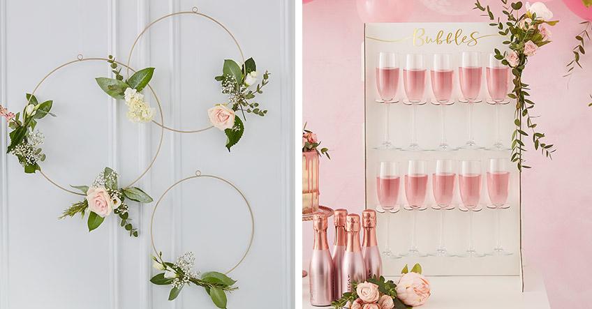 Metallic-Effekte bringen Eleganz in die florale Brautparty-Deko