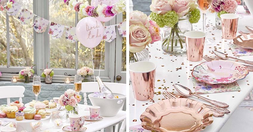 Wunderschön - florale Tischdeko für die Brautparty
