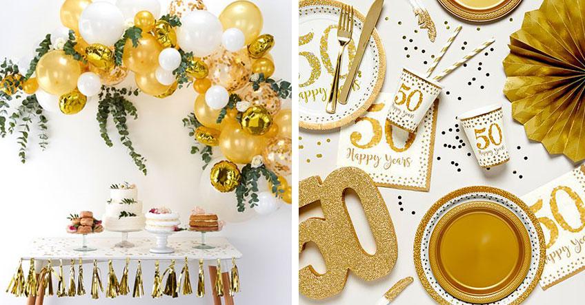 Dekoriere die Goldene Hochzeit in eleganten Goldtönen