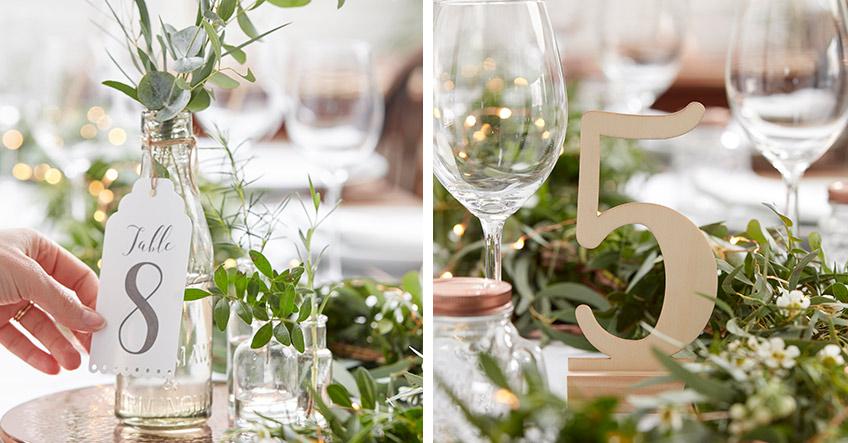 Filigrane Schriftzüge und Tischnummern aus Holz passend zur Hochzeit im Greenery Stil
