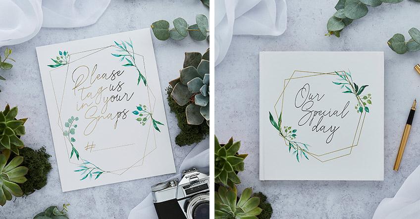 Instagram Schild und Hochzeits-Gästebuch in wunderschönem Greenery Stil
