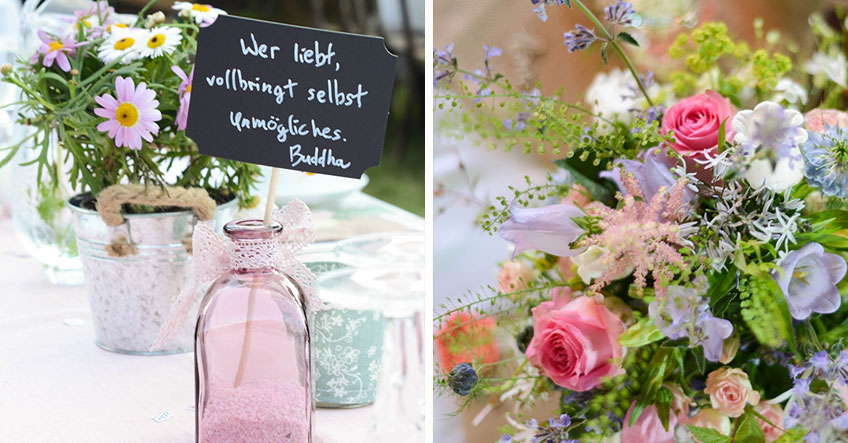 Überrasche Braut und Bräutigam mit Blumen und einem kleinen Gruß