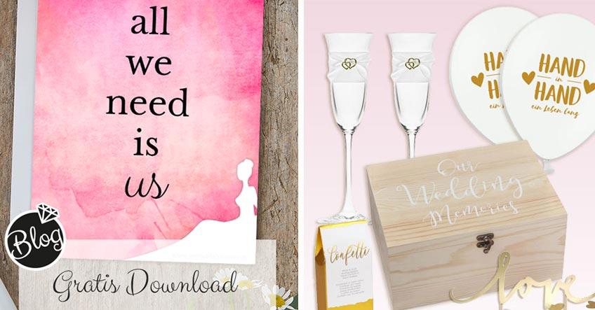 """Verschenke eine """"Hochzeit für Zwei"""" mit schöner Deko und lieben Gruß"""